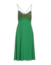 Clips Knee Length Dresses Emerald Green
