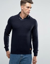 Threadbare Shawl Neck Jumper Navy
