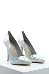 Forever 21 Metallic Pointed Pumps Silver