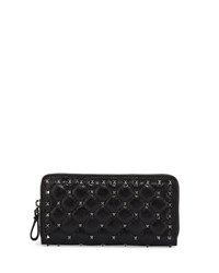 Valentino Rockstud Quilted Zip Around Wallet Black