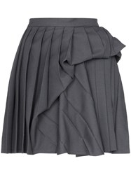 Y Project Pleated Ruched Wool Blend Mini Skirt Grey