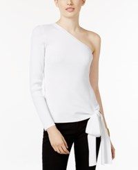 Inc International Concepts One Shoulder Bow Detail Top Only At Macy's Bright White