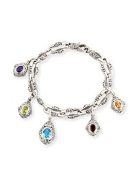 Konstantino Egg Charm Bracelet With Blue Topaz Yellow Silver
