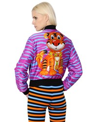 Moschino Tiger Stripes Print Twill Bomber Jacket