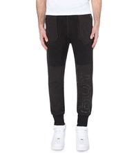 Boy London Contrasting Panel Cotton Jersey Jogging Bottoms Black