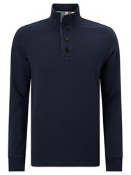 John Lewis Weekend Button Neck Sweatshirt Navy