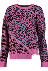 Opening Ceremony Leopard Intarsia Stretch Knit Sweater Pink