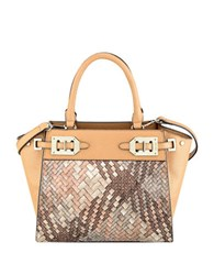 Nine West Gleam Team Mini Satchel Bag Camel Grey
