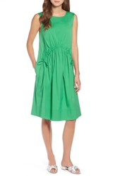 Halogen Drawcord Stretch Cotton Blend Dress Green Kelly