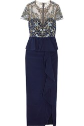 Marchesa Notte Embellished Tulle And Satin Gown Navy