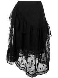 Simone Rocha Floral Embroidery Layered Skirt Black