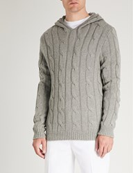 Ralph Lauren Purple Label Cable Knit Cashmere Hoody Light Grey