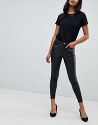 Lipsy Coated Jeans With Zip Detail In Black Black