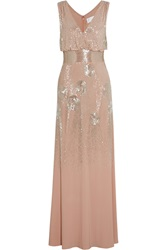 Mikael Aghal Bead Embellished Jersey Gown Nude