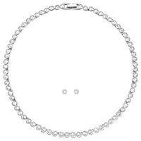 Swarovski Tennis Necklace And Stud Earrings Jewellery Gift Set Silver