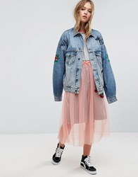 Asos X Lot Stock And Barrel Unisex Denim Jacket With Embroidery Blue