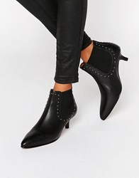 Selected Femme Tallulah Black Leather Kitten Heel Boots Black