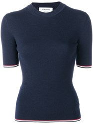 Thom Browne Fitted Knitted Top Blue
