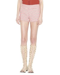 Alice Olivia Cady Striped Cotton Blend Shorts Red Cream Women's