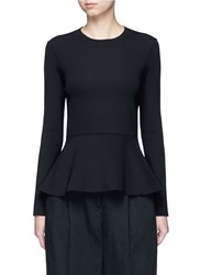 The Row 'Mel' Scuba Jersey Peplum Long Sleeve Top Black