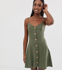 Asos Design Tall Exclusive Mini Slubby Cami Swing Dress With Faux Wood Buttons Green