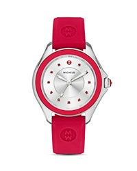 Michele Cape Topaz Studded Silicone Strap Watch 40Mm Red