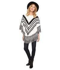 Kensie Plush Knit Sweater Poncho Ksdk500s Ivory Multi Women's Coat Bone