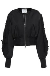 3.1 Phillip Lim Woman Bow Detailed Satin Crepe Bomber Jacket Black