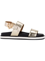 Love Moschino Metallic Grey Flat Sandals