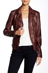 Kut From The Kloth Triple Needle Faux Leather Moto Jacket Brown