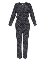Rebecca Taylor Box Step Printed Silk Jumpsuit