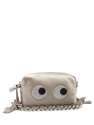 Anya Hindmarch Eyes Satin Clutch Silver