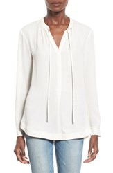 Women's Astr 'Dawn' Split Neck Blouse Warm Cream