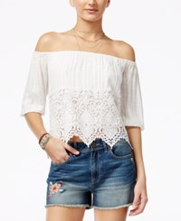 American Rag Juniors' Off The Shoulder Crocheted Blouse Only At Macy's White