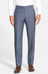 Nordstrom Flat Front Wool Trouser Blue