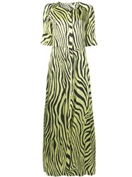 Laneus Zebra Print Maxi Dress Yellow