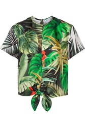 Max Mara Printed Silk Satin Top Green