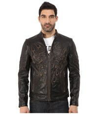 Affliction Rebellious Leather Moto Jacket Black Vintage Wash Men's Coat
