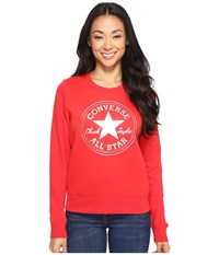 Converse Chuck Patch Metallic Dot Crew Fleece Top Casino Red Women's Fleece Pink