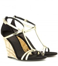 Burberry Hayfield Suede Wedge Sandals Gold
