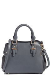 Sole Society Faux Leather And Flannel Satchel Black Black Grey Flannel