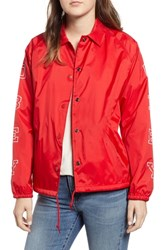 Obey Core Varsity Coach's Jacket Red