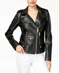 Guess Faux Leather Moto Jacket White Alyssum