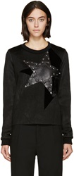 Anthony Vaccarello Black Leather And Velvet Studded Star Sweatshirt