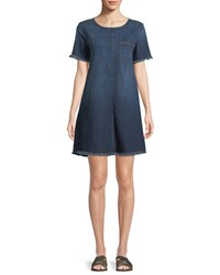 Current Elliott The Frayed Crewneck Short Sleeve Denim Shift Dress Blue