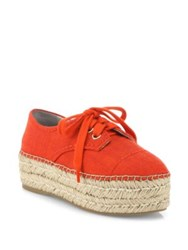Alice Olivia Rory Raffia Platform Espadrille Sneakers Red