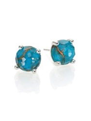 Ippolita Rock Candy Bronze Turquoise Clear Quartz And Sterling Silver Mini Stud Earrings Silver Turquoise