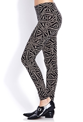 Forever 21 Standout Tribal Print Leggings Black Taupe