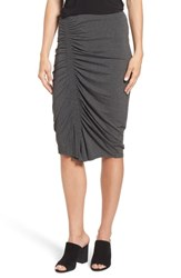 Vince Camuto Asymmetrical Side Ruched Pencil Skirt Medium Heather Grey