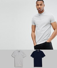Asos Design Polo With Button Down Collar In Pique 2 Pack Save Nvy Gry Mrl Multi